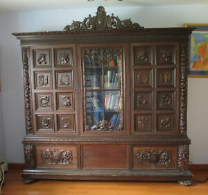 Antique Bookcase Cabinet Hand Carved Wood Hungary 1890 S Renaissance Revival
