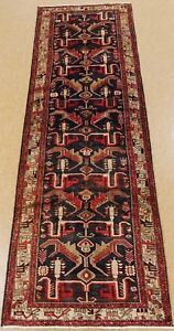 Persian Runner Rug Tarom Tribal Hand Knotted Wool Navy Imposing Oriental 4 X 13