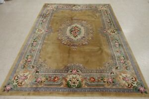 Chinese Rug Hand Knotted Wool Gold Reds Blues Floral Oriental 9 X