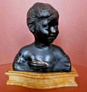 Laughing Boy Bronze Bust After Renaissance Artist Dasettignano S Marble Italy
