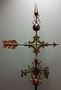 Beautiful Copper Elegant Arrow Finial Weathervane Complete Setup Mount