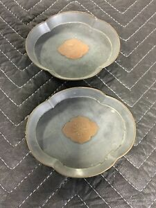 Antique Chinese Pewter Dishes Made In Hong Kong