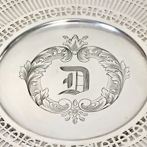 Antique Sterling Silver Serving Plate Footed Old English D By Meriden Brittania