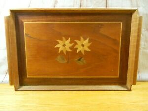 Wood Serving Tray With Wood Flower Insert Design With Handles