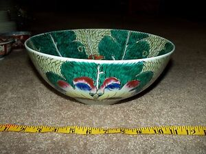 11 Punch Soup Bowl Famille Verte Green Cabbage Leaf Dragonfly Chinese Porcelain