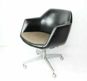 60s Mid Century Modern Mcm Steelcase Leather Steel Rolling Arm Chair Swivel