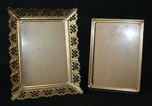 2 Vintage Metal Ornate Metal Picture Frames Gold Tone Easel Back