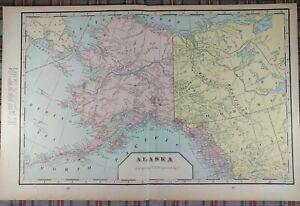 Alaska Territory 1900 Vintage Atlas Map 22 X14 Old Antique Iditarod Juneau