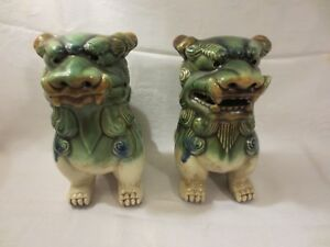 Pair Vintage Foo Dogs From Wildwood Imports Glazed Ceramic 8 1 2