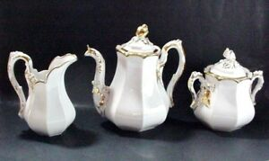 Old Paris Porcelain Paris France Coffee Pot Creamer Sugar Wedding Band 1860