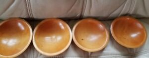 Set Of 4 Munising Wooden Bowls Hand Turned Out Of Round Salad Bowls