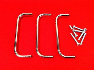 Vintage 4 5 Chrome Plated Brass Oblong Drawer Door Handle Pull Lot Of 3