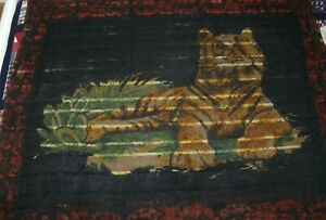 Vintage Mohair Horsehair Buggy Carriage Lap Sleigh Blanket Tiger