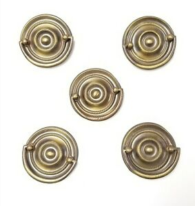 5 Vintage Drawer Drop Ring Pulls Brass Round Ribbed Pattern A117