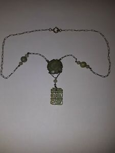 Chinese Silver Jade Necklace Pendant 10 25 Length Old Vintage