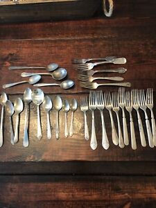 Vintage Silverplate Flatware Lot For Crafts Use 15 Lbs