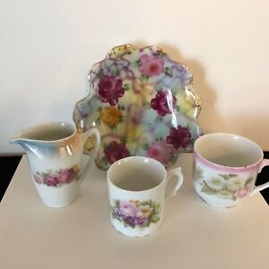 Barvaria China Collection Of 4 Pieces Creamer Plate Cups Floral