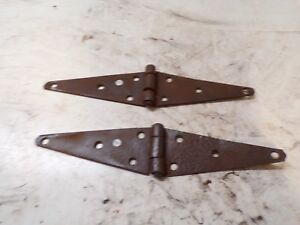 Old Original Rustic Pr Barn Door Gate Strap Hinges About 12 Total Length Lot Q