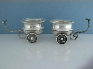 Pr Sterling Silver Salt Cellars Dishes Movable Wheels Carts Glass Inserts Israel