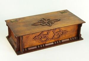 Antique 1880 S Fretwork Wooden Box Sewing Trinkets Jewelry Compartments Tray