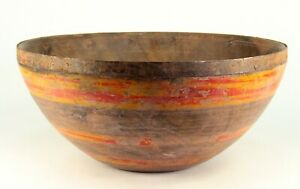 Antique19th C Treen Bowl Iron Edge Painted Carved Wood American Primitive