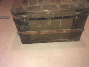 Hump Back Tin Covered Steamer Trunk Dome Top Trunk Original Hardware