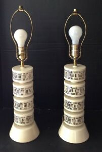 Vintage 1950 S Mid Century Modern Atomic Matching Pair Of Table Lamps
