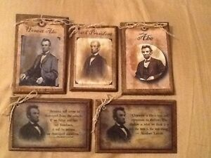 5 Abe Lincoln Handcrafted Wooden Ornaments Hang Tags Setv