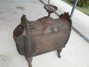Antique 1876 Culter Proctor Peoria Cast Iron Parlor Wood Fire Place Cook Stove