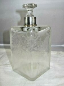 French Antique Perfume Or Vanity Bottle Sterling Silver Collar Etched Garland