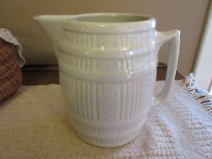 Vtg Large Barrel Shaped Style Stoneware Pitcher Bone Ivory Color