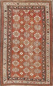 One Of A Kind Antique Kazak Caucasian Russian Oriental Hand Knotted 4x7 Rust Rug