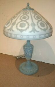 Antique Cameo Art Glass Lamp Shade Base Perfect For Wedgewood Collector