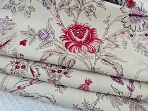 Lovely Antique Vintage French Block Printed Cotton Linen 19th C Design