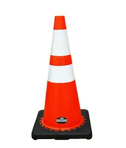 28 Rk Orange Safety Traffic Pvc Cones Black Base With Two Reflective Collars