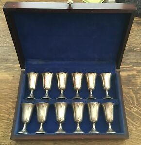 Manchester Silver Company Set Of 12 Sterling Silver Cordials Excellent