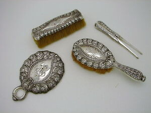 4pc Elegant Tiffany Sterling Silver Dresser Set Mirror Brush Curler C1869 91