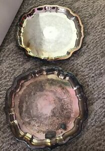 2 Wm A Rogers Oneida Ltd Silversmith Plate Platter Serving Tray H Etched 11 5