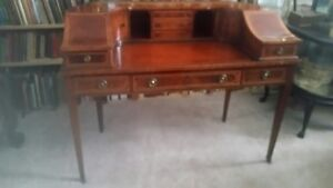 Fine Antique English Mahogany Writing Desk With Leather Top Beautiful