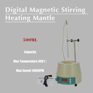 500ml Electric Digital Lcd Magnetic Stirring Heating Mantle 842 0 1400prm New