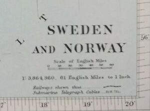 Vintage 1896 Sweden Norway Country Atlas Map Old Antique Stockholm Oslo