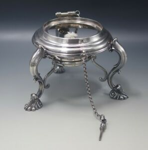 Antique Tilting Tea Kettle Stand With Chain And Warmer Silver Plated