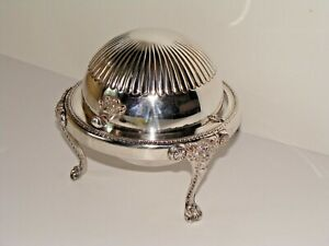 Rogers Silver Co Silverplate Dome Top Lion Leg Claw Foot Glass Caviar Dish