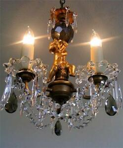Antique French Solid Bronze Cherub 3 Arm Gilt Lead Crystal Chandelier 1910