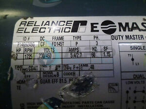 Reliance Electric P14g9245g Motor 2 Hp 1725 Rpm Used