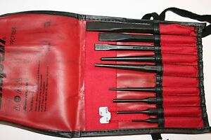 Snap on Tools 9 Piece Punches And Chisels Set Gauge And Kit Bag Usa