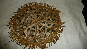 825uu Antique Doily Gold Tone Metal Mesh Net Lace W Irrideswcent Shells 7 R