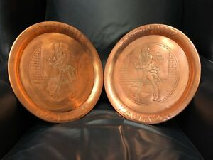 Pair 2 Antique Vintage Copper Advertising Serving Trays Johnnie Walker Scotch