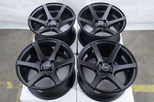 15x8 Wheels Honda Accord Civic Mx 5 Miata Mirage Corolla Matt Black Rim 4x100