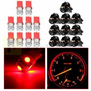 10pcs Red T10 194 5 Smd Led Bulbs Speedmeter Instrument Dash Lights For Chevy